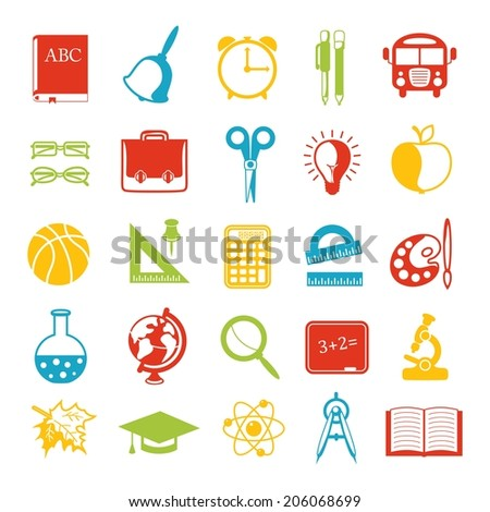 set of school icons, brightly colored. Vector illustration