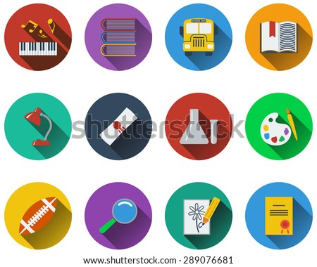 Set of school icons in flat design. EPS 10 vector illustration with transparency. - stock vector