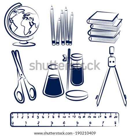 Set of school items doodles. Back to school hand drawn vector illustration - stock vector