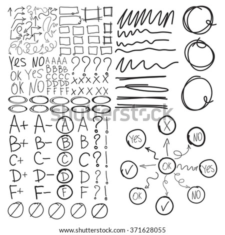 Set of school marks, circle, scribbles,  highlight square frames, check, underlines, zigzags arrows, rectangles borders. Collage grades. Diagram or flowchart, mind mapping. Imitation of hand drawing. - stock vector