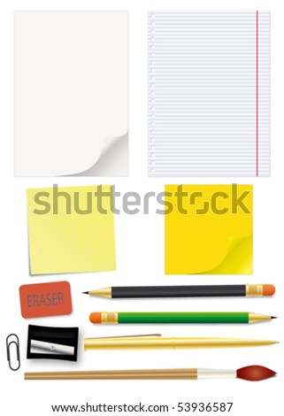 Set of school supplies - an illustration for your design project. - stock vector