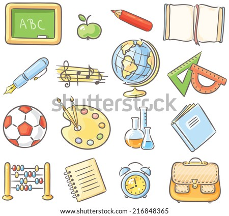 Set of 16 school thing representing different school subjects - stock vector