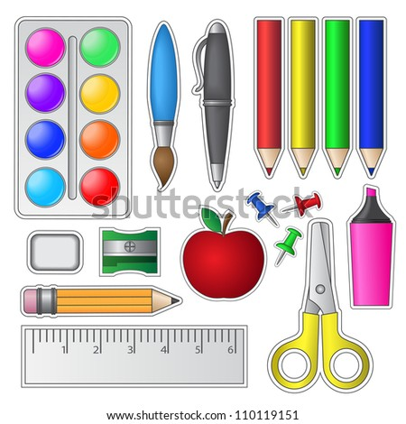 Set of School Tools and Supplies. Vector illustration. - stock vector