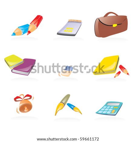 Set of school vector icons - stock vector