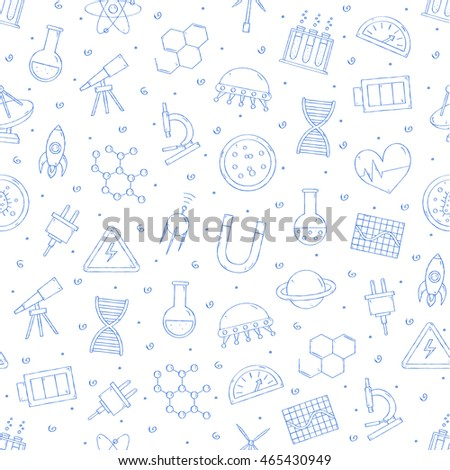 Set of Science & research pattern blue icons