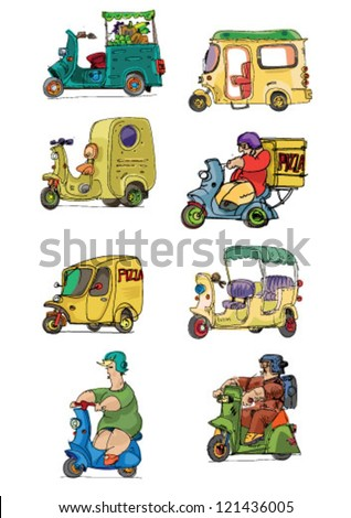 set of scooters - cartoon - stock vector