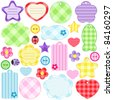 Set of scrapbook design elements - cute and bright frames, tags, buttons, hearts, stars and ladybugs. - stock vector