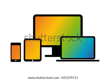 set of screens on a white background