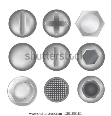 set of screws - stock vector