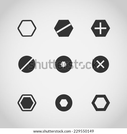 Set of screws and bolts on white background - stock vector