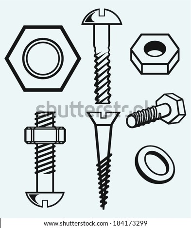 Set of screws. Isolated on blue background - stock vector