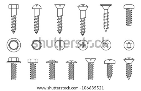 Set of screws isolated on white, vector  - stock vector