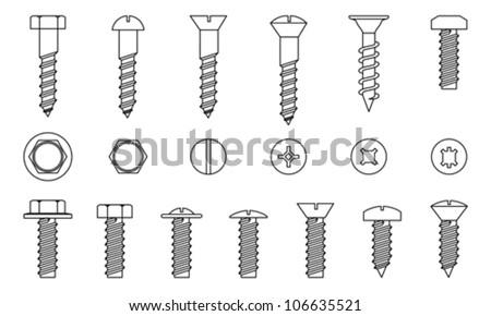 Set of screws, vector - stock vector