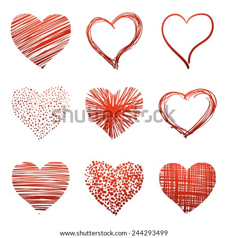 Set of scribbled hand-drawn sketch hearts for Valentines Day design. Vector illustration. - stock vector