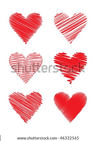 set of 6 scribbled hearts; scalable and editable vector illustration; hi-res jpeg included - stock vector