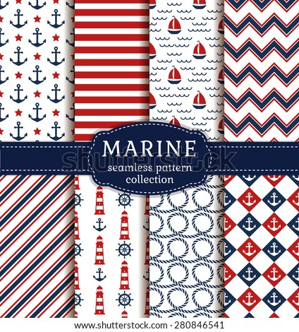 Set of sea and nautical backgrounds in white, blue and red colors. Sea theme. Seamless patterns collection. Vector illustration.  - stock vector