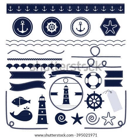 Set of sea and nautical elements isolated on white background. Vector illustration.  - stock vector
