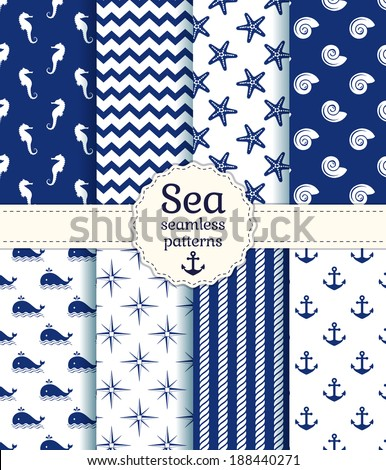 Set of sea and nautical seamless patterns in white and navy blue colors. Vector illustration.  - stock vector