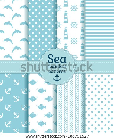 Set of sea and nautical seamless patterns in white and pale blue colors. Vector illustration.  - stock vector