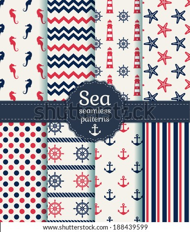 Set of sea and nautical seamless patterns in white, pink and dark blue colors. Vector illustration. - stock vector