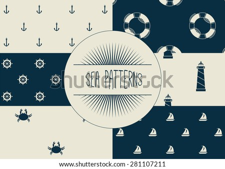 Set of sea and nautical seamless patterns. vector - stock vector