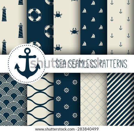 Set of sea and nautical seamless patterns. Vector illustration. - stock vector