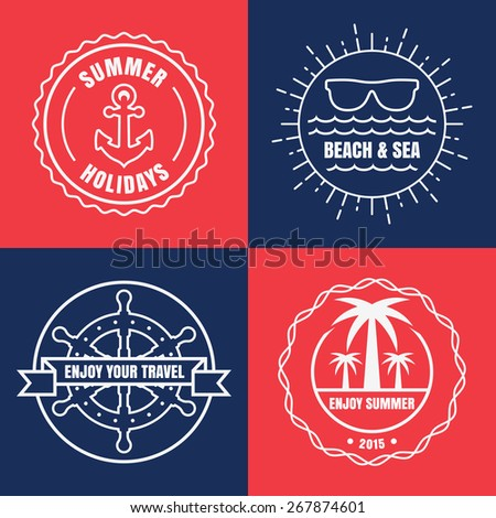 Set of sea and summer nautical signs, badges and labels. Vector line illustration of anchor, sun, sunglasses, palm tree and ship steering wheel. Logo design template. - stock vector