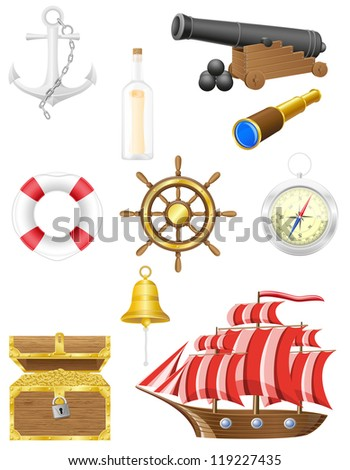 set of sea antique icons vector illustration isolated on white background - stock vector