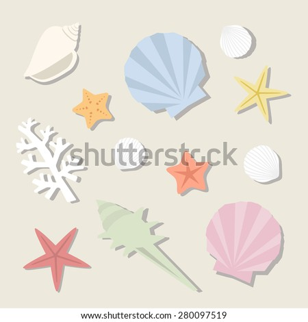 set of sea shells / vector eps10 illustration