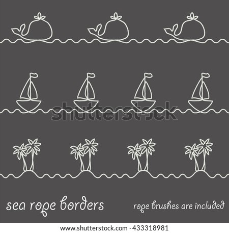 Set of sea themed borders made of nautical rope. Whale, boat and wave decorative summer border patterns. Decorative and simple rope brushes are included. - stock vector