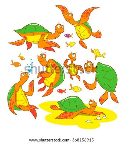 Set of sea turtles characters smiling cheerful cute friendly cartoon vector - stock vector