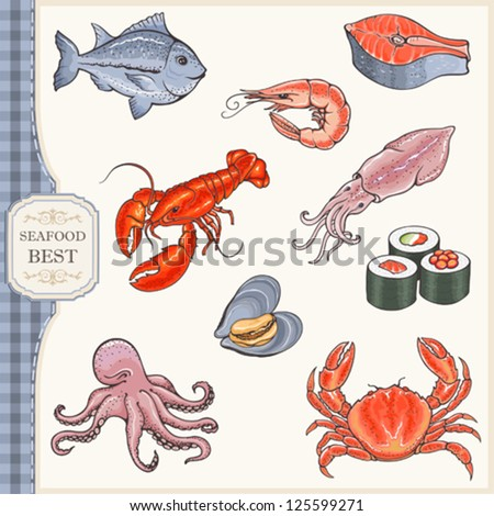 Set of seafood - stock vector