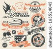 Set of seafood icons, symbols and signs. Retro design elements collection of badges, stickers and emblems for fish restaurant. Fresh and delicious food design concept. - stock vector