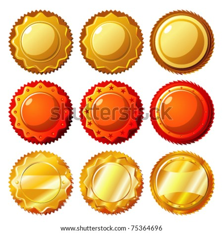 Set of seals and medals - stock vector