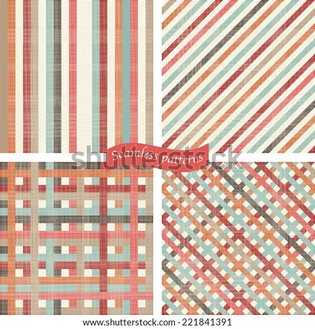 set of Seamless abstract colorful stripes patterns. - stock vector