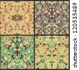 set of seamless abstract patterns - stock vector