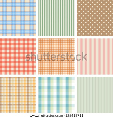 Set of 9 seamless abstract retro pattern. - stock vector