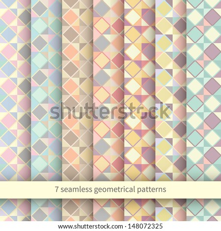 Set of Seamless Argyle Sweater Backgrounds - stock vector