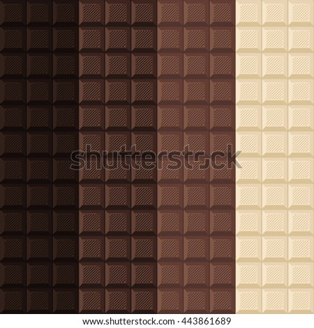 set of 4 seamless background of delicious chocolate bar. assorted milk and dark and white chocolate wallpaper