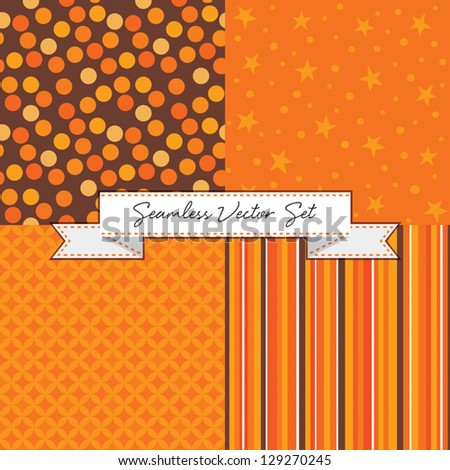 Set of 4 seamless background patterns with ribbon banner. Great for Thanksgiving, Greeting Cards, Gift Wrap, Scrapbook, Surface Textures. See my portfolio for other colors and for JPEG versions. - stock vector