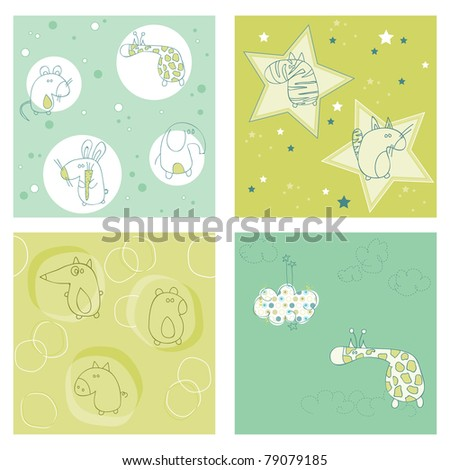 Set of seamless backgrounds for design and baby scrapbook - see more in my profile - stock vector