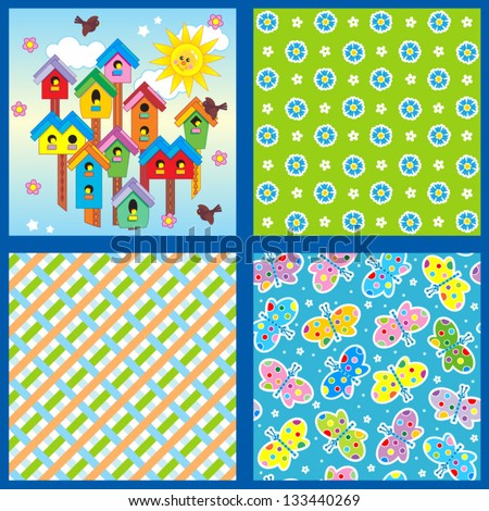 Set of 4 seamless backgrounds or wallpapers with floral, butterflies, birdhouses and geometric patterns ( for high res JPEG or TIFF see image 133075694 )