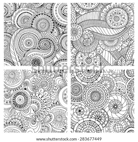 Set of seamless black and white pattern with flowers. Ornate zentangle texture with abstract flowers. Seamless pattern can be used for wallpaper, pattern fills, web page background, surface textures. - stock vector