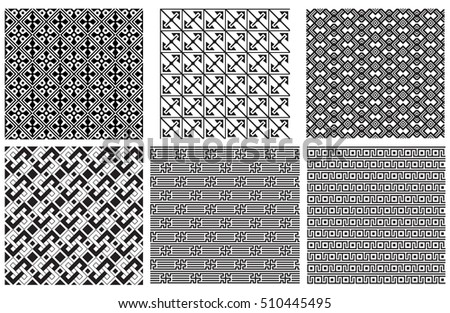 Set of seamless black geometric patterns. Pattern swatches are included in vector file.