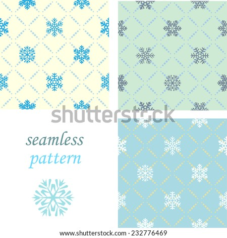 Set of seamless blue winter pattern with diamond of dots and snowflakes - stock vector