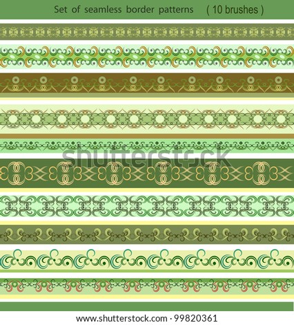 Set of seamless border patterns, brushes included - stock vector