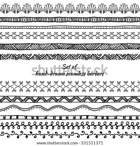 Set of seamless borders. Hand drawn doodle design elements. Floral elements for your design. Vector illustration.