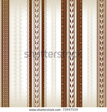 Set of seamless borders with floral and ornamental elements. Vector - stock vector