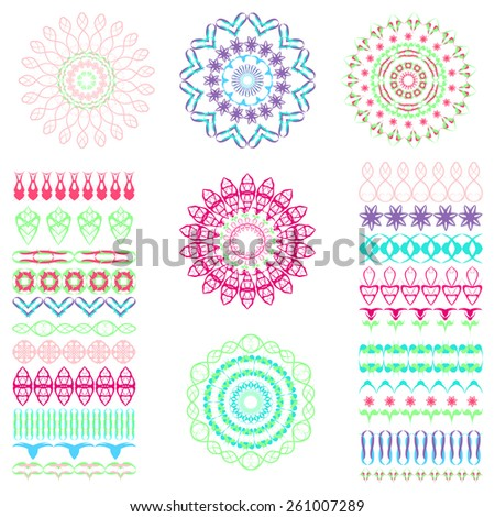 Set of seamless  brushes or dividers. 21 isolated element for your design.5 flower mandalas. Ornate floral editable template. Bright colors. Vector illustration. - stock vector
