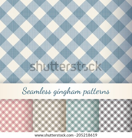 Set of seamless checkered backgrounds. Gingham patterns. Eps 10 vector illustration - stock vector
